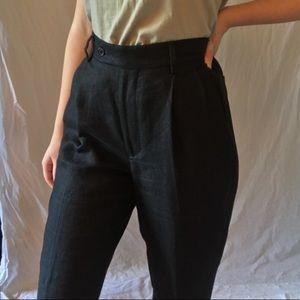 black linen armani exchange high waisted pants
